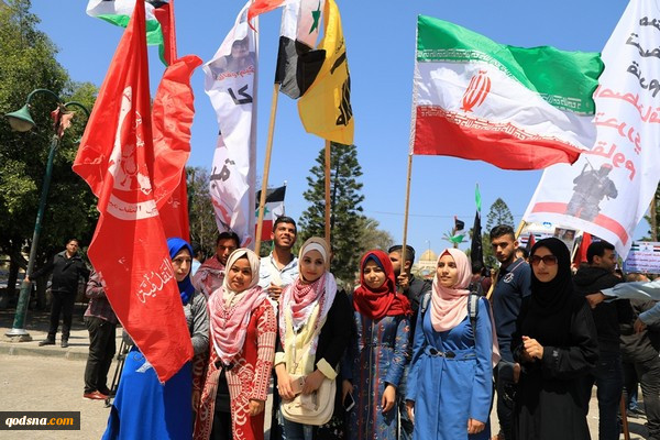 حمایت از قلب محور مقاومت در پایتخت مقاومت؛اهتزار پرچم ایران و آتش زدن پرچم آمریکا در فلسطین+تصاویر 4