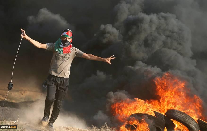 در بیست و پنجمین راهپیمایی بازگشت؛ سه  فلسطینی شهید و 30 نفر دیگر زخمی شدند  مردم فلسطین:  به مبارزه و مقاومت تا پایان ادامه میدهیم 2