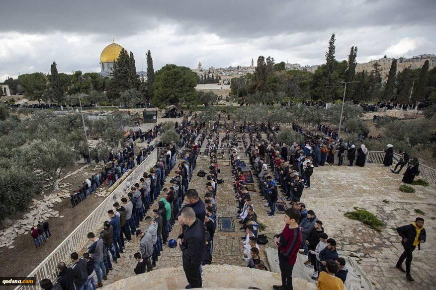 امروز در جریان برگزاری نماز جمعه مسجدالاقصی؛صف آرایی اهالی قدس در برابر رژیم صهیونیستی در جمعه «شکست ممنوعیت» 2