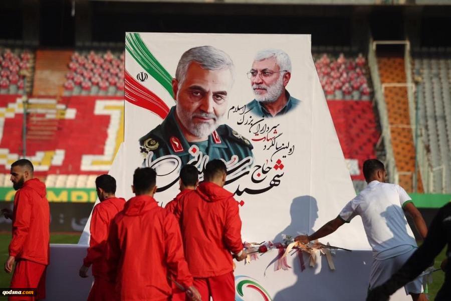 پیش از آخرین بازی هفته؛ بازیکنان پرسپولیس و ذوبآهن به سردار سلیمانی و ابومهدی ادای احترام کردند(تصاویر) 2